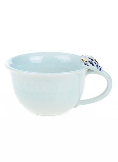 BeMade Yaprak Kulplu Çay Fincan Mavi